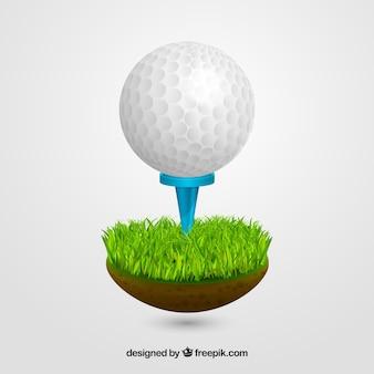 Golfball auf t-stück in der realistischen art