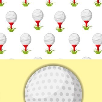 Golfball auf t-stück und gras sport wettbewerb muster