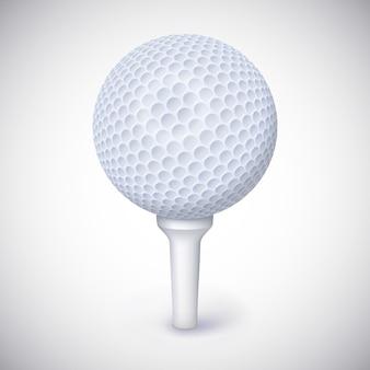 Golfball auf weißem t-stück.