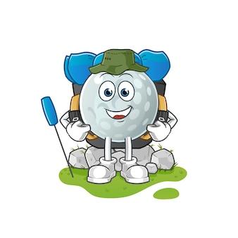 Golfball gehen camping maskottchen. karikatur