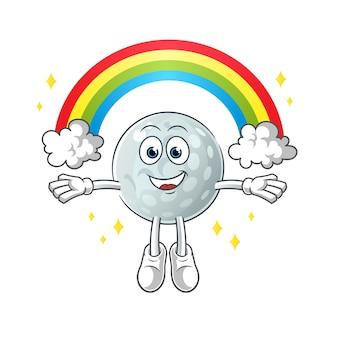 Golfball mit einem regenbogenmaskottchen. karikatur