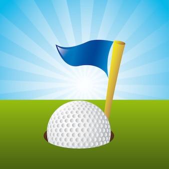 Golfball über landschaftshintergrundvektorillustration