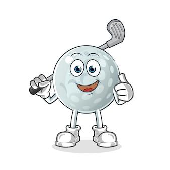Golfball-zeichentrickfigur