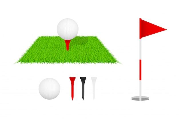 Golfclub, golfflagge, golfball und grünes glas. golf-icon-set. vektor-illustration