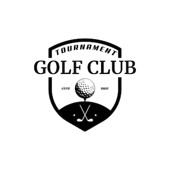 Golfclub-logo, abzeichen oder symbol mit gekreuzten golfschlägern und ball auf dem tee. vektor-illustration.