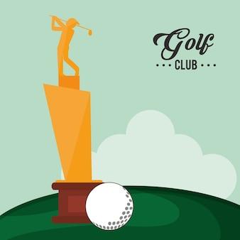 Golfclub trophäe und ball