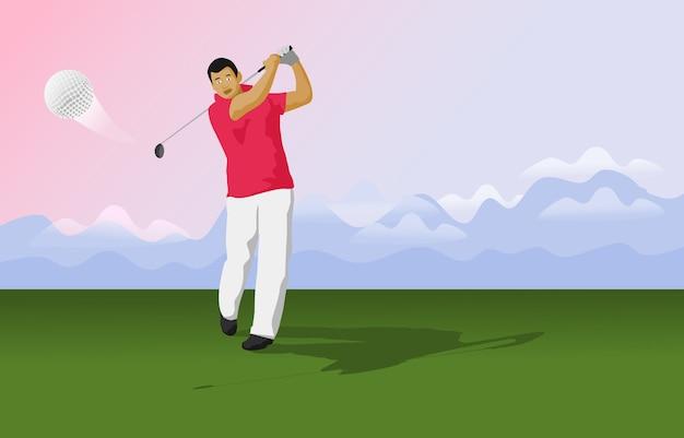 Golfer schlagen den ball auf dem golfplatz.