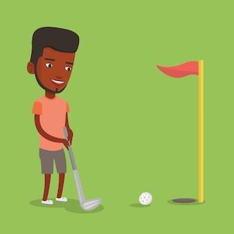 Golfer trifft die ballvektorillustration.