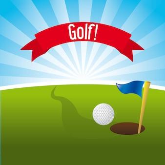 Golfillustration über landschaftshintergrundvektorillustration