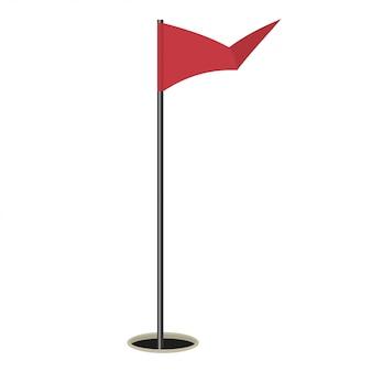 Golfmarkierungsfahnenabbildung getrennt auf weiß.