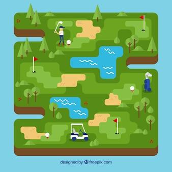 Golfplatz in flachen stil