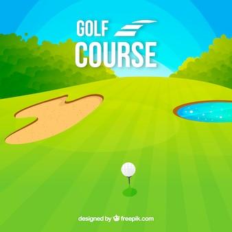 Golfplatzhintergrund in der flachen art