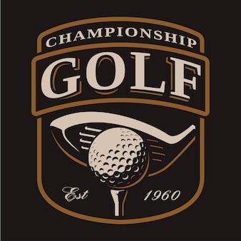 Golfschläger- und balllogo auf dunklem hintergrund. alle elemente, text befinden sich auf der separaten ebene.