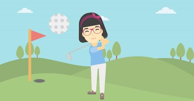 Golfspieler, der die ballvektorillustration schlägt.