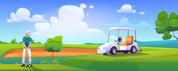 Golfspieler, der golf auf dem grünen feld spielt, das ball schlägt
