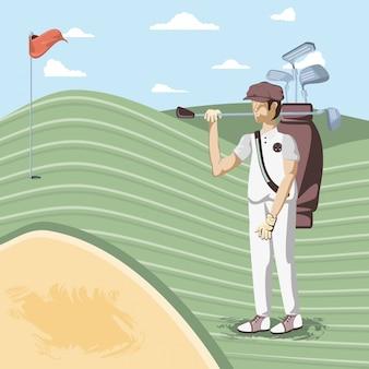Golfspieler im kurs