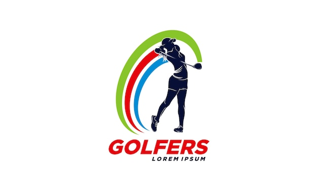 Golfspieler-logo-design-vorlage