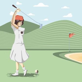 Golfspielerfrau im kurs