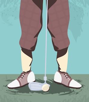Golfspielerfüße auf golfplatz