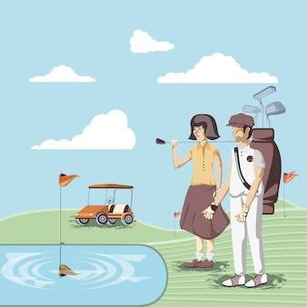 Golfspielerpaar im kurs