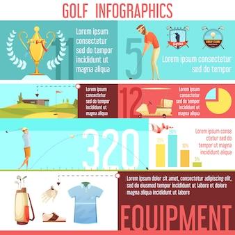 Golfsport-popularität nach land in der weltstatistik und beste auswahl an ausrüstung infografik