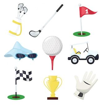 Golfsportausrüstung vereinstock, -ball und -loch auf t-stück oder wagen auf grünem kurs für meisterschaft oder turnier. golfschläger, ball, handschuh, flagge, auto und tasche.