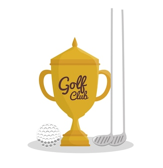 Golfsporttrophäenemblemikonenvektor-illustrationsdesign