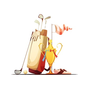 Golftasche mit ballvereinschuhen und retro- karikatur der tourmeistersieger-trophäe