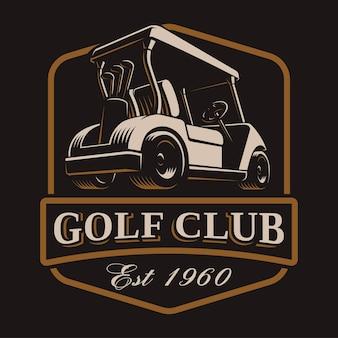Golfwagen-emblem auf dunklem hintergrund. text befindet sich auf der separaten ebene.