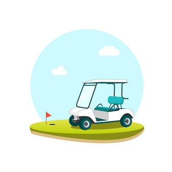 Golfwagen im golfplatz-vektor