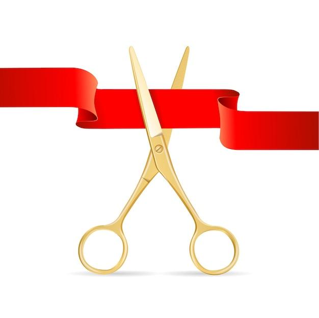 Golg-schere schneidet rotes band. eröffnungsfeierlichkeiten.