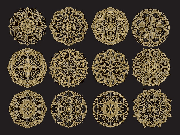 Golgen mandala bühnenbild. asiatische, arabische, koreanische dekorative blumenmandalasammlung