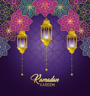 Gometrische blumen mit den lampen, die an ramadan-kareem hängen