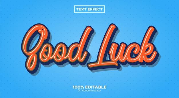 Good luck text effect isoliert auf blau