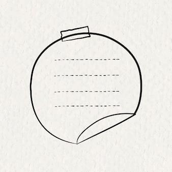Goodnotes aufkleber vektor kreisnotizelement im handgezeichneten stil auf papierstruktur