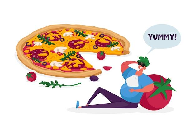 Gorged männliche figur mit fettem bauch lehnen sie sich auf riesige tomaten, die bei italienischer pizza mit oliven sitzen