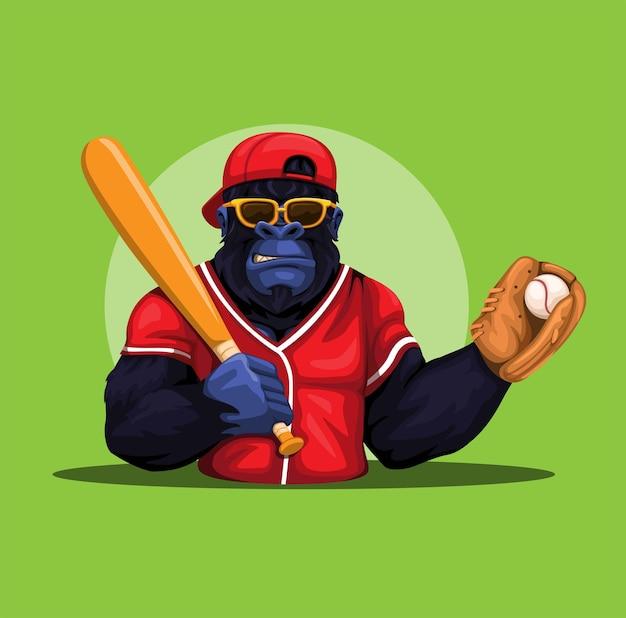 Gorilla-affe-baseball-spielerkostüm, das schläger- und ballmaskottchencharakterillustrationsvektor hält