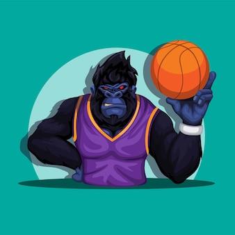 Gorilla auf korbspieler-kostümhaltung, die ballmaskottchen-charakterillustrationsvektor hält