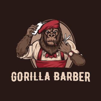 Gorilla barbershop vintage logo