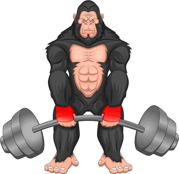 Gorilla-cartoon mit großer langhantel