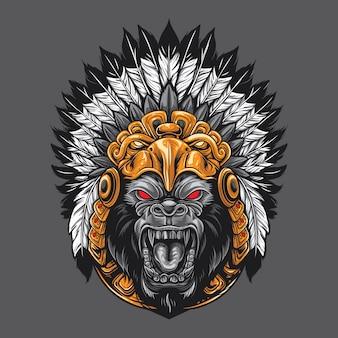 Gorilla, der aztekischen kopfschmuck trägt