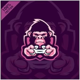 Gorilla gamer hält spielekonsole joystick. maskottchen-logo-design für das esport-team.