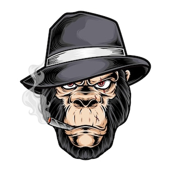 Gorilla gangster kopf logo