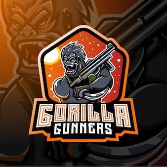 Gorilla gunners esport maskottchen logo design