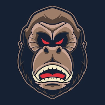 Gorilla head logo illustration isoliert auf dunkel