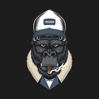 Gorilla head trucker