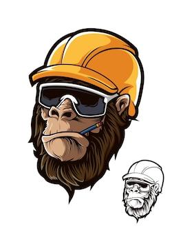 Gorilla head worker helmbrille