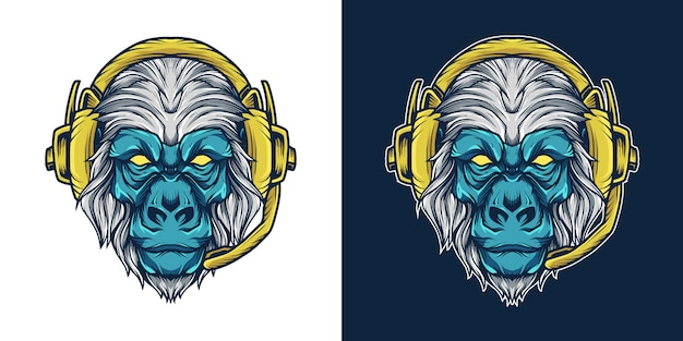 Gorilla headset head maskottchen logo illustration