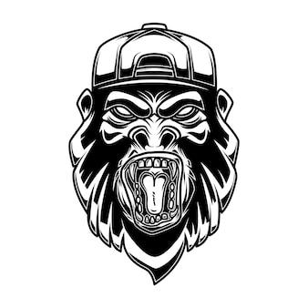 Gorilla in der baseballmütze auf weißem hintergrund