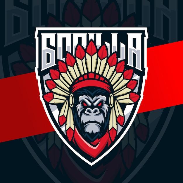 Gorilla indianer chef maskottchen esport logo design